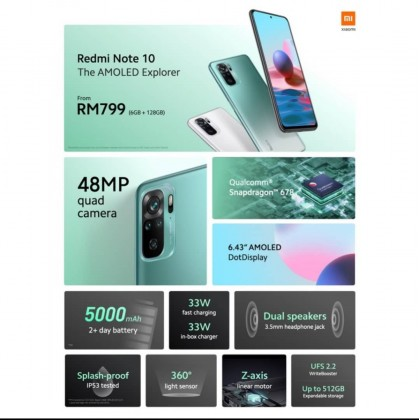 Original Xiaomi Redmi Note 10 (6GB+128GB) Sealed Set 1 Year Warranty Xiaomi Malaysia